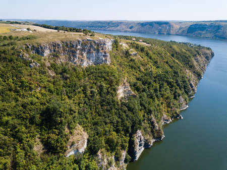 Aerial view to Bakota Cave Monastery in Podilski tovtry National park, Khmelnitskiy region of Western Ukraine Stock fotó