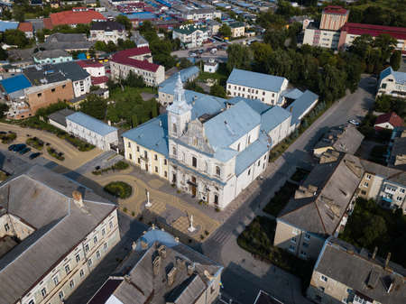 Aerial view to Church of the Assumption of Blessed Virgin Mary and center of historical city Zolochiv, Lviv region, Ukraine Stock fotó