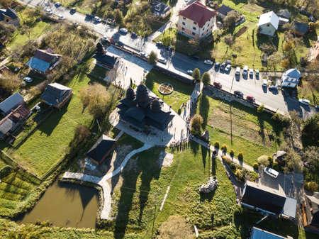 Aerial view to wooden church of Holy Prophet Elijah, Yaremche, Carpathians mountains, Ukraine Stock fotó