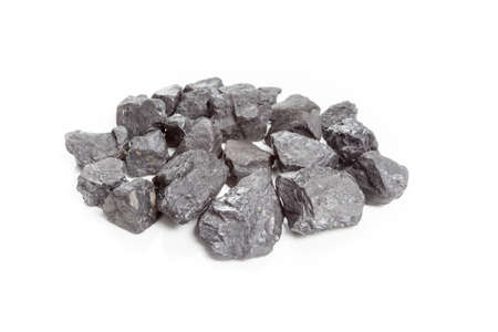combustible: Coal stack isolated on white background.
