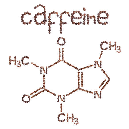 Caffeine chemical molecule structure. The structural formula of caffeine with dark brown coffee beans.