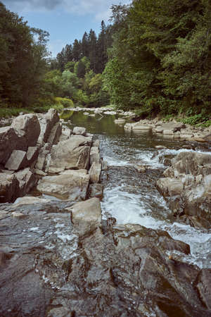 Unusual rock formations on the Wetlinka river in Sine Wiry nature reserve. Western Bieszczady, Poland