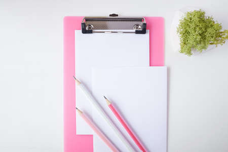 Three pencils lie on a pink clipboard and a sheet of paper. in the frame you can see a plant in a cache-pot Stockfoto