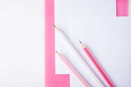 Three pencils lie on a pink clipboard and a sheet of paper. in the frame you can see a plant in a cache-pot 스톡 콘텐츠 - 132163676