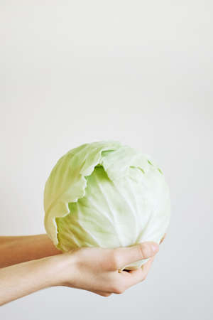 Childrens hands hold white cabbage on a light background Stok Fotoğraf