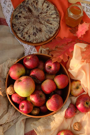 Apples and nuts in a bowl on a tablecloth on a background of nature. In the frame, a pie, a jar of honey, autumn leaves. Picnic photo.