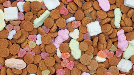 dutch typical: Pile of Pepernoten, typical Dutch treat for Sinterklaas in december Stock Photo