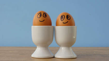 shed: Happy smiling and enamored eggs at the breakfast