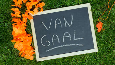 ALKMAAR, THE NETHERLANDS, 16 MAY 2014 -  Van Gaal coach of The Netherlands written on a chalkboard