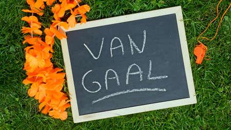 ALKMAAR, THE NETHERLANDS, 16 MAY 2014 -  Van Gaal coach of The Netherlands written on a chalkboard                         Редакционное