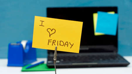 I love friday written on a memo at the office photo