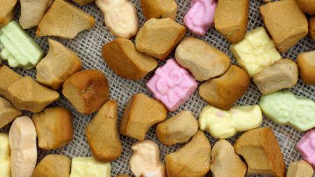 dutch typical: Pile of Old Dutch Pepernoten, typical Dutch treat for Sinterklaas on 5 december