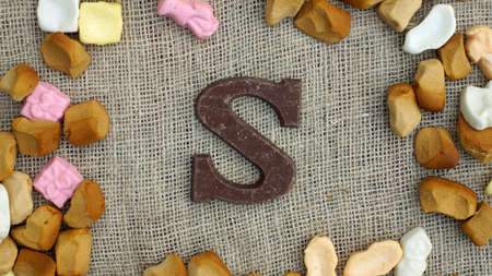 decembe: Jute bag with ginger nuts and candies, typical Dutch treat for Sinterklaas on 5 decembe