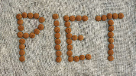 '5 december': The text Piet is written with pepernoten, typical Dutch treat for Sinterklaas on 5 december Stock Photo