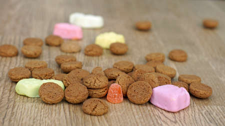 festiveness: Dutch Pepernoten on the floor, typical Dutch treat for Sinterklaas on 5 december