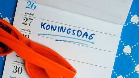 Kingsday in Dutch written in a planner Reklamní fotografie