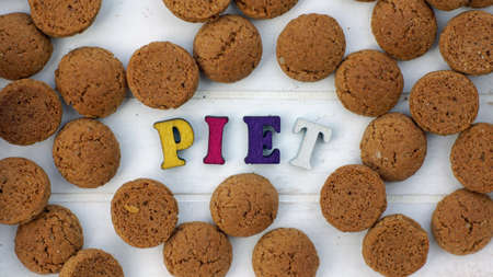 festiveness: Piet written with wooden letters for the Sinterklaas celebration on the 5th of Decembe