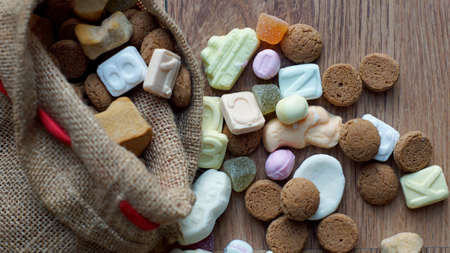 festiveness: Ginger nuts and candys for the Dutch Santa-Claus celebration for the 5th of December Stock Photo