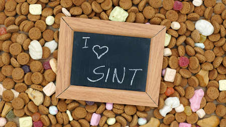 nicolaas: Ginger nuts and the words i love Sint in Dutch written for the Dutch Santa-Claus celebration for the 5th of December