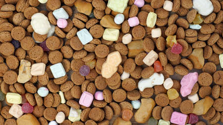 gingernuts: Ginger nuts  and candys for the Dutch Santa-Claus celebration for the 5th of December Stock Photo