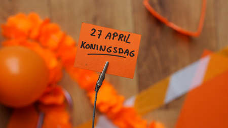 Kingsday 27th of April written in Dutch for Kingsday in the Netherlands Stock Photo - 56758058