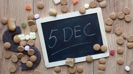 santaclaus: 5th of December in Dutch written on a chalkboard for the Dutch Santa-Claus