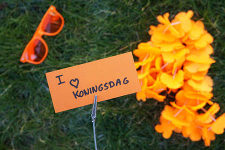 I love kingsday written in Dutch on a memo 免版税图像 - 96867509