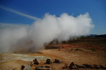 fumarole: Steaming earth in iceland
