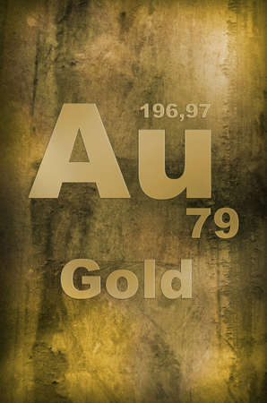Aurum (Gold) Periodic table of Elements Symbol photo