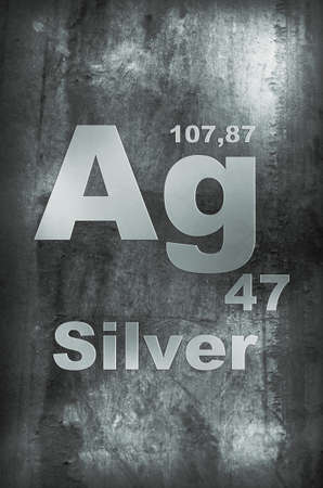 argentum: Silver (Argentum) Periodic table of Elements Symbol Stock Photo