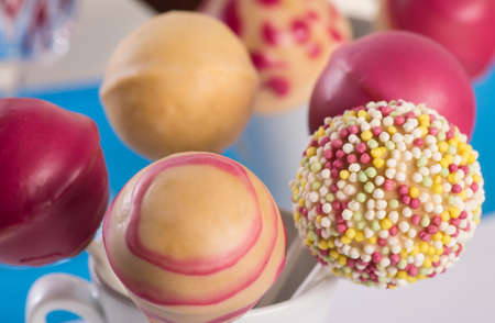 Pink Cakepops and Cakepop with sprinkles  Baking for a party  All dairy-free and vegan  Stock Photo