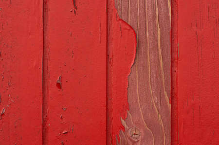 Red Wood with damaged Paint Stock Photo