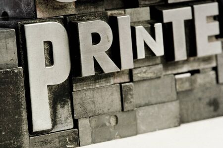 typesetting: Old typesetting letters. Stock Photo