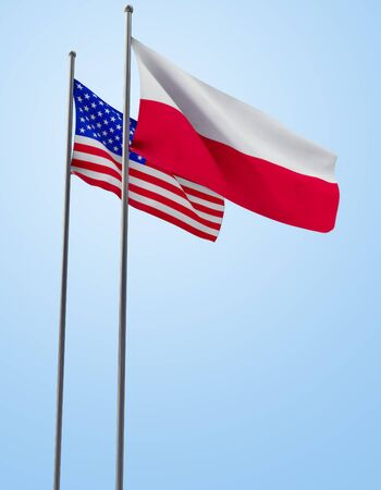 Polish and American flag in the wind. 3D generated. With Clipping PATH.