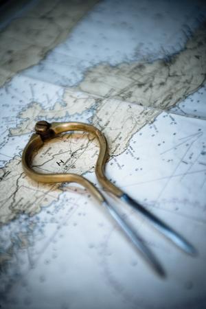 un colpo di macro di una pinza in cima a una mappa marina.