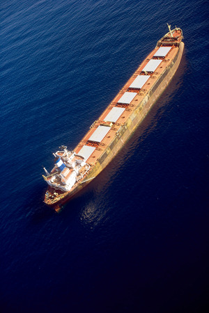 A large tanker ship in the open water.
