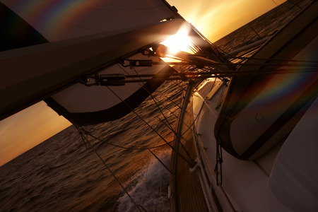 ship bow: Sailing into the sunset