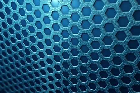 Detail of Honeycomb-shaped blue metal. 写真素材