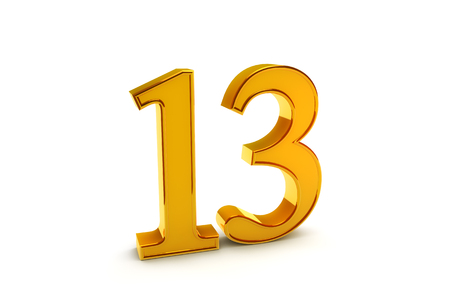 Gold number Thirteen on white background