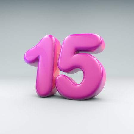 3D render of pink bubble-like numbers