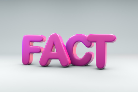 3D rendering of the word FACT on white background Foto de archivo
