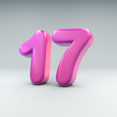 3D render of the number 17 in soft pink round numbers