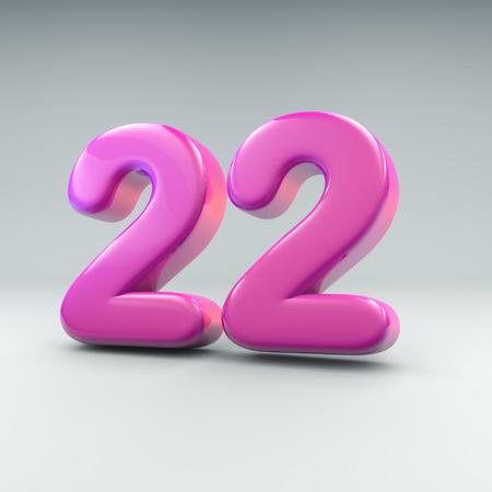 3D render of the number twenty two Foto de archivo