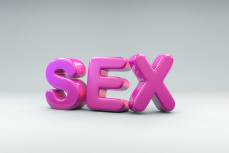 3D render of the word SEX out of bubble like pink material Stock Photo