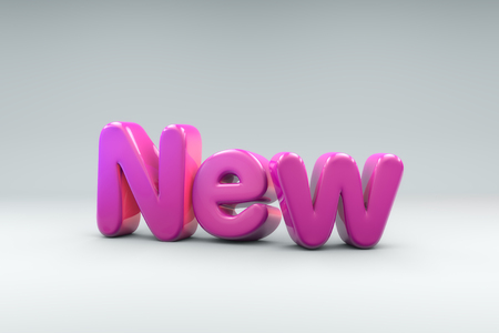 3D rendering of the word NEW in balloon like text