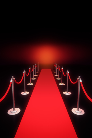 Computer generated 3D rendering of red carpet entrance.