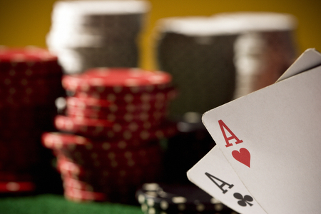 Lucky hand in poker, two aces.