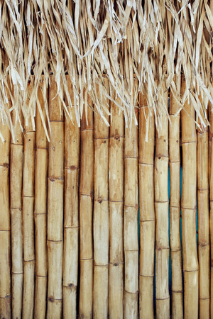 Straw hut background. Focus on straw roof.