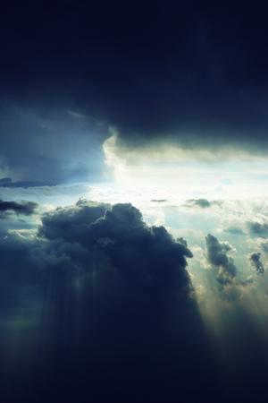 Split sky with heavy clouds all around