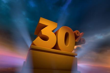 3D-weergave van goud 30 procent tekst op het podium met dramatische hemel Stockfoto